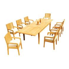 "9-Piece Outdoor Teak Set: 122"" X-Large Rectangle Table, 8 Maldives Arm Chairs"