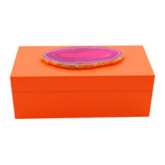Agate Lacquer Box, Orange and Pink