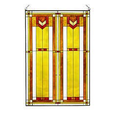 "Arts and Crafts Prairie 20"" x 30"" Window Art Glass Panel Red"