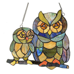 """11"""" Stained Glass Friendly Owls Window Panel"""