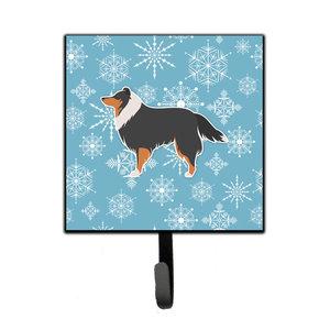 Winter Snowflake Polish Lowland Sheepdog Dog Leashkey Holder