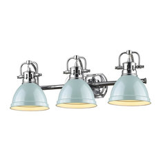 Golden Lighting Duncan 3 Light Bath Vanity, Shade: Seafoam, Chrome