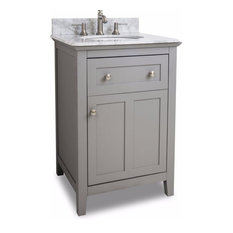 "Jeffrey Alexander 24"" Chatham Shaker Single Vanity Set, Gray/White"