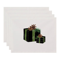 """Nature's Gift 18""""x14"""" Black Holiday Print Placemat, Set of 4"""