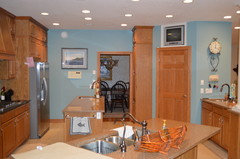 ... of golden oak cabinets in our lake home. Repainting them is not an  option, there is just way