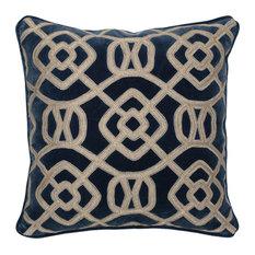 """Kosas - Leeds Cotton 22"""" Throw Pillow by Kosas Home, Indigo - Decorative Pillows"""