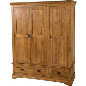 French Chateau Solid Oak Wardrobe, Rustic, Triple