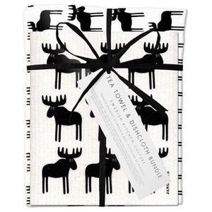 Moose Tea Towel and Dishcloth Set, Black
