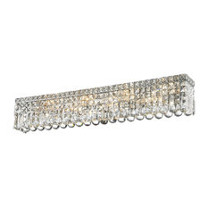 """Contemporary 8-Light Chrome Clear Crystal Vanity Light Wall Sconce 36"""""""
