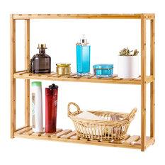 Costway Multifunctional 3 Bamboo Shelf Adjustable Rack Storage Organizer Stand