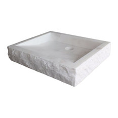 Chiseled Rectangular Natural Stone Vessel Sink, White Marble