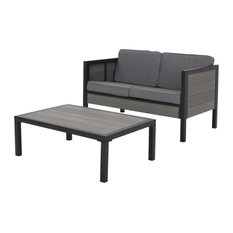 McKinley Outdoor Loveseat Set With Coffee Table, Black/Gray