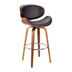 """Solvang 30"""" Mid-Century Swivel Stool, Brown Faux Leather, Walnut Wood, Bar Heigh"""