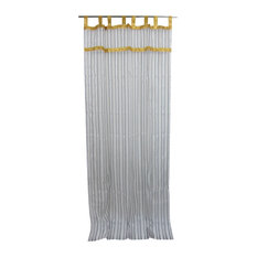 "Tissue - 2 Organza Sheer Curtains White Grey Striped Window Treatment Drapes, 48x96"" - Curtains"