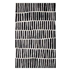 nuLOOM Hand-Tufted Irregular Parallel Bars Wool Area Rug, Black, 6'x9'