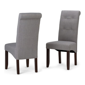 Simpli Home Cosmopolitan Deluxe Dining Chairs, Dove Gray, Set of 2