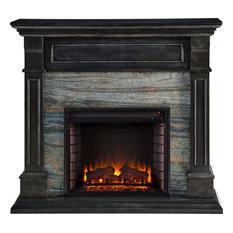 Jayben Faux Stone Media Fireplace, Smoked Ash, Gray