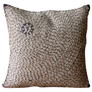 Brown Spiral Jute Throw Cushions Cover, 50x50 Silk Cushion Cover, Jute Fetish