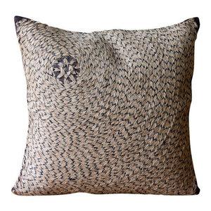 Spiral Jute Brown Euro Pillow Cases, Art Silk 65x65 Pillowcase, Jute Fetish