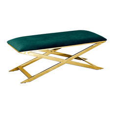 Accent Bench, Gold Plated, Green Velvet