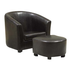 Leather-Look Fabric Juvenile Chairs, Set of 2, Dark Brown