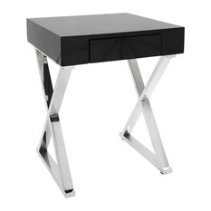 LumiSource Luster Side Table, Black and Chrome