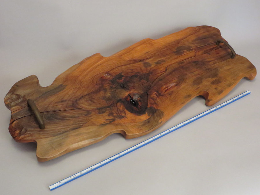 Tray 17020: Beech, Footed, Rustic Surface, Pull Handles.
