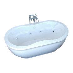 Venzi Velia 34 x 71 x 21 Oval Freestanding Air & Whirlpool Water Jetted Bathtub