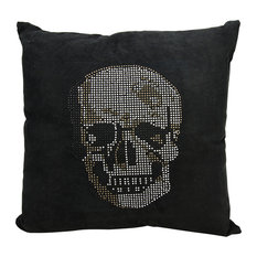 Mina Victory Luminescence Rhinestone Skull Pillow, Black