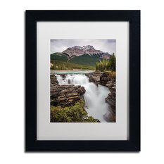 Pierre Leclerc 'Athabasca Falls' Matted Framed Art, Black Frame, White, 14x11