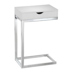Monarch Specialties   Contemporary Style Side Table, Glossy White   Side  Tables And End