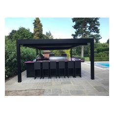 Fire Magic Outdoor Kitchen Under a Bespoke Renson Lourvered Canopy