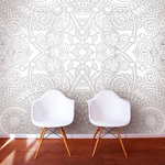 Murals Your Way - Floral Carpet Design Wallpaper Mural, Small - Let yourself really write on the walls with this fun coloring wallpaper mural! This intricate image features floral motifs and swirling designs. Add a creative touch to any space in your home, whether you place it in a home office or child's bedroom.