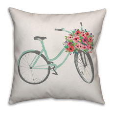 Flower Delivery Bike 20x20 Throw Pillow