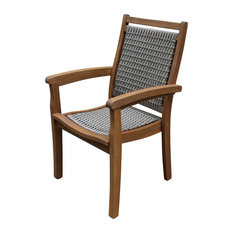 Stackable Gray Wicker and Eucalyptus Arm Chair