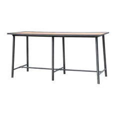 86.5-inch Ester Bar Table Washed Old Oak Iron Waxed Black Reclaimed Wood