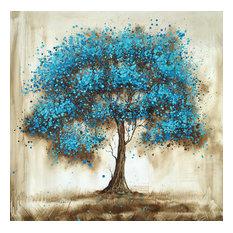"""Blue Tree"" Hand Painted Oil Canvas Artwork; Modern Art; Fine Art"