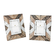 Decorative Whitewash and Black Picture Frame Set of 2 made of Iron/Wood Size