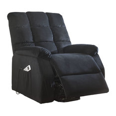 ACME Ipompea Recliner with Power Lift and Massage, Black Velvet