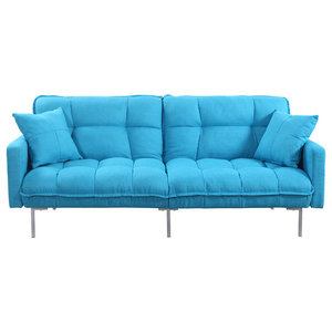 Modern Plush Tufted Linen Fabric Splitback Sleeper Futon Blue