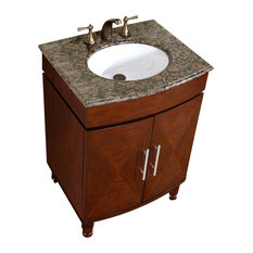 Silkroad Exclusive   26 Inch Single Sink Vanity With A Unique Pattern And  Granite Counter Top