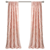 "Ruffle Diamond Window Curtain Panels Set, Blush, 84""x54"""