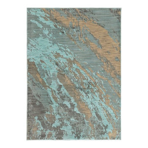 "Casa Marble Rug, Blue and Gray, 5'3""x7'6"""