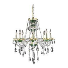 """Elegant Lighting Alexandria Hanging Fixture, Gold/Green, 26""""x28"""""""