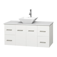 "48"" Single Bathroom Vanity in White, White Man-Made Stone Countertop, Sink"