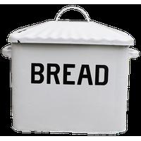 Distressed White Enamel Metal Bread Box