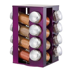 Rotating Stainless Steel Spice Rack With 16 Glass Jars, Purple