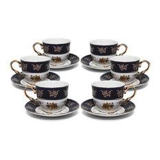 Royalty Porcelain 12pc Cobalt Blue Gold-Plated 24K, 4Oz Old-fashioned Coffee Set