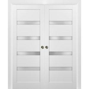 French Double Pocket Doors Quadro 4113 White Silk Contemporary Interior Doors By United Porte Inc Houzz