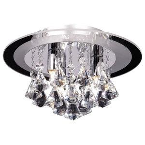 Renner Chrome and Glass Crystal Flush Mount Ceiling Light, 3 Lights
